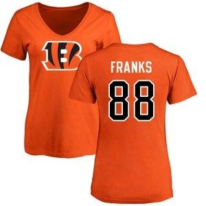 Jordan Franks Cincinnati Bengals Women's Orange Pro Line Name & Number Logo Slim Fit T-Shirt -